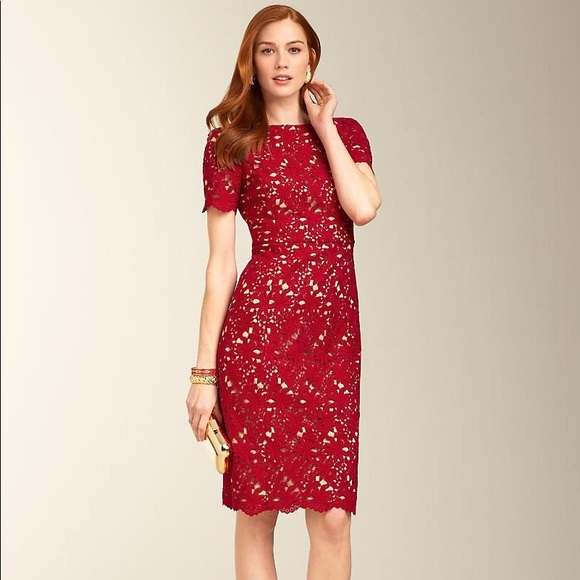 Talbots Dresses & Skirts - Talbots red lace dress sz 8
